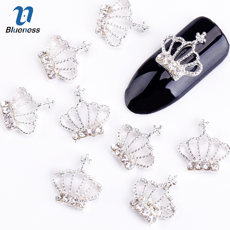 10Pcs/Lot Hollow Out Silver Crown 3D Nail Art Decorations Rhinestone For Nails Alloy DIY Glitters Nail Tools the silver crown