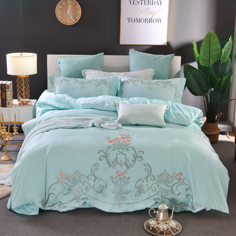 light green Pastoral style luxury Embroidery 80S Tencel cotton Jacquard Bedding Set Duvet Cover Bed Linen Bed sheet Pillowcaseslight green Pastoral style luxury Embroidery 80S Tencel cotton Jacquard Bedding Set Duvet Cover Bed Linen Bed sheet Pillowcases