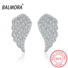 BALMORA Clear CZ Angel Wings Earrings 925 Sterling Silver Stud Earrings for Women Lover Party Wedding Gift Jewelry SVE062