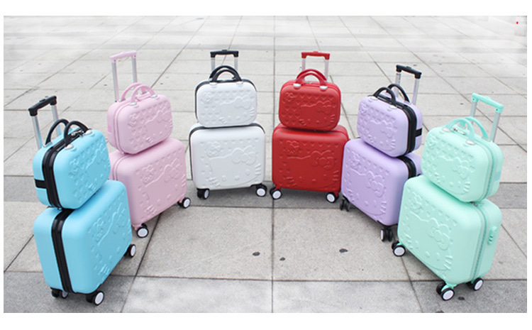 Аптовыя! Дзяўчаты міла 14 16 АБС Hello Kitty падарожжа багаж наборы, высокага якасць жанчыны прыгожага падарожжа багаж чамадан на колах