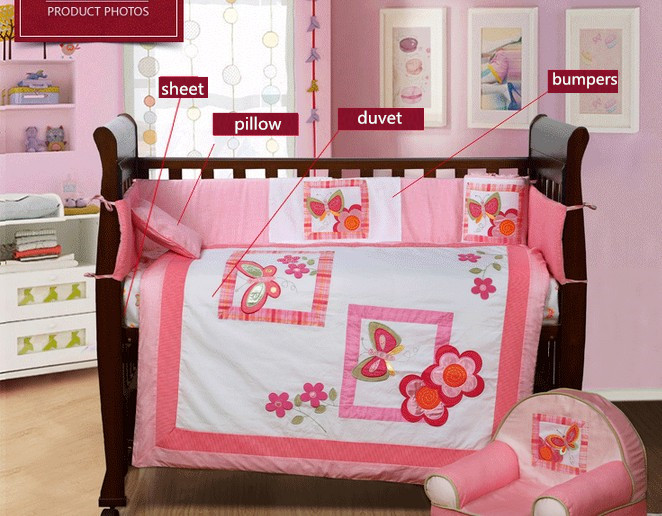 4PCS embroidery Crib Bedding Baby Bedding Set Sweet Baby Nursery Bedding Bumper ,include(bumper+duvet+sheet+pillow)