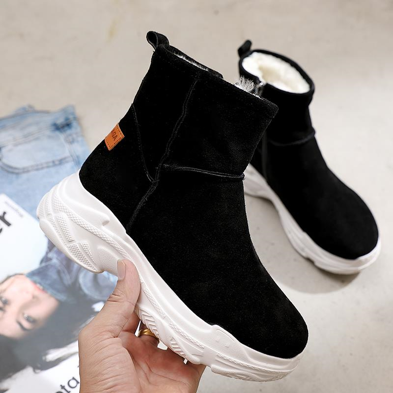 New Winter Women Boots Flock Warm Ankle Snow Boots Platform Mid Mother Shoes Woman Slip On Flats Button Creepers tenis feminino