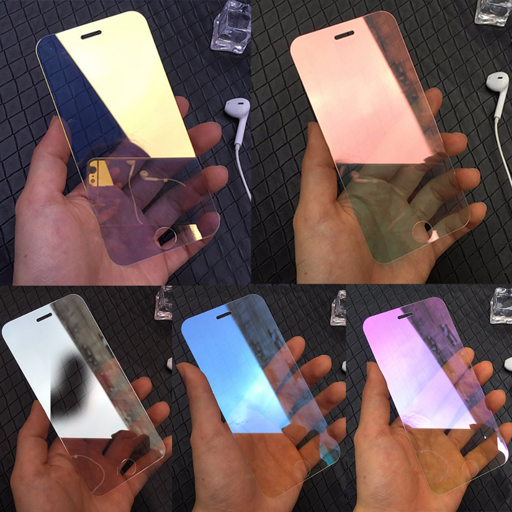 best website f3175 319b9 Mirror effect Tempered Glass Screen Protector for iPhone X XR XS Max 5S 5C  SE 6 6S 7 8 Plus Colorful Full Cover Protective Film
