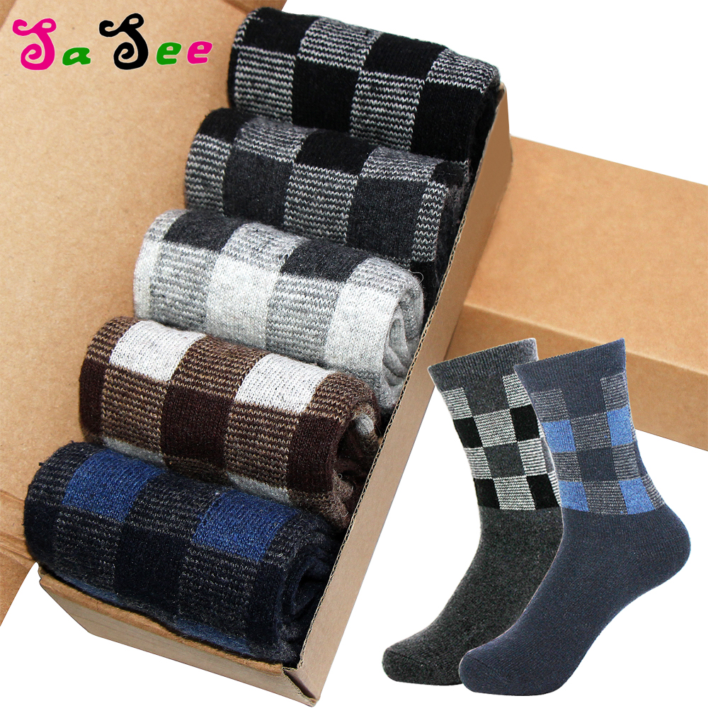 Thick Keep Warm Rabbit Wool Men   Socks   Autumn Winter Classic Business Casual Fashion Grid Plaid Prints Foreign Large   Sock   Meias