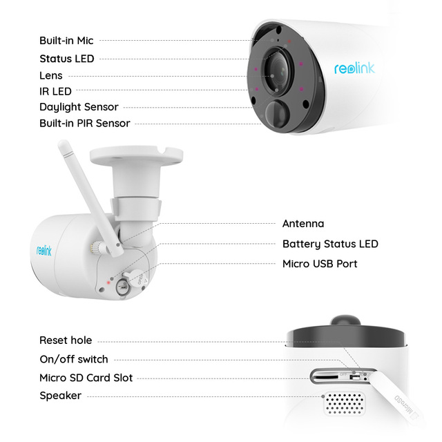 Reolink 100% Wireless Security IP Camera Argus Eco and Solar Power Full HD 1080P Outdoor Video Surveillance 4