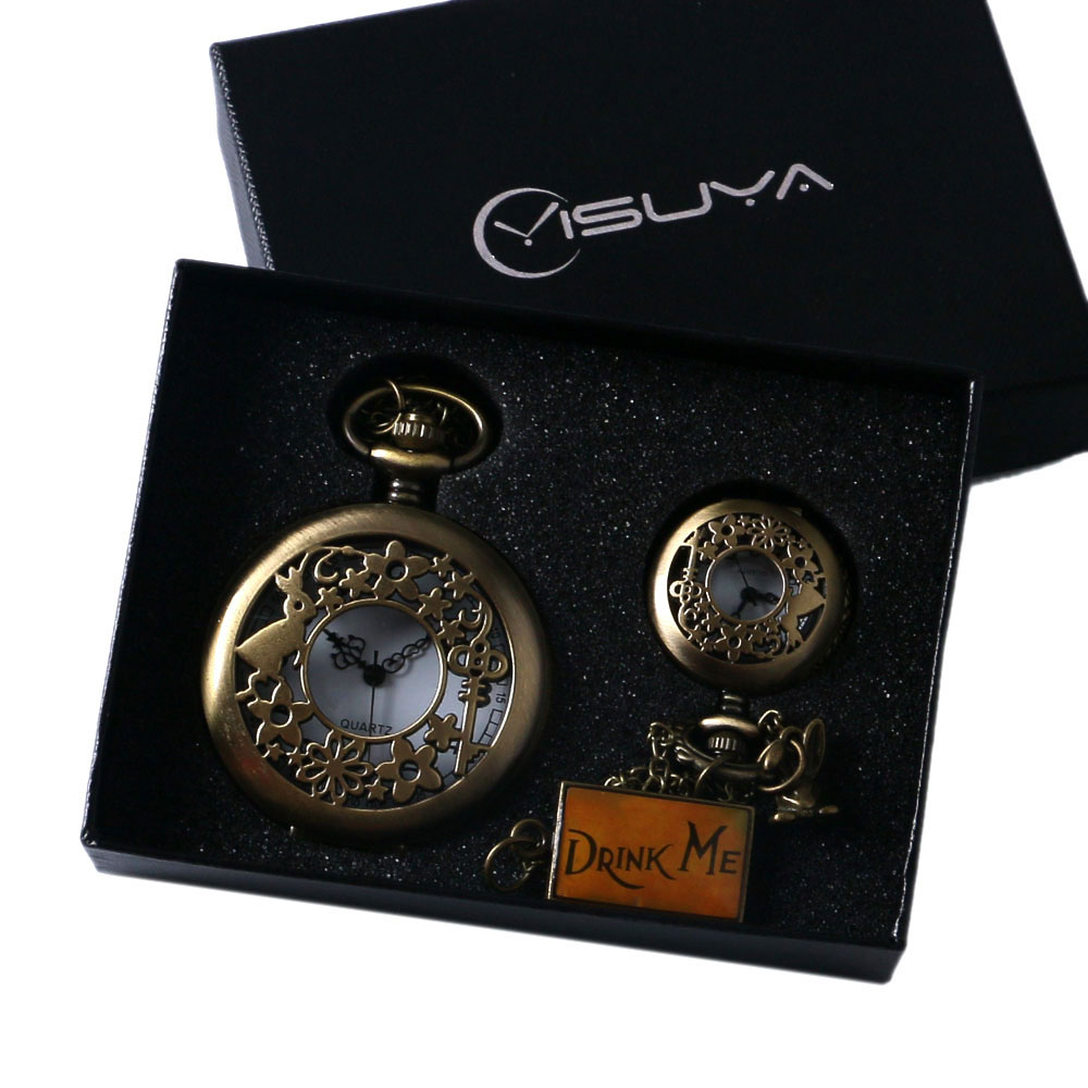 Antique Alice In Wonderland Quartz Pocket Watch Set Pendant Necklace Chain +Gift Box For Women Mens Best Gifts unique smooth case pocket watch mechanical automatic watches with pendant chain necklace men women gift relogio de bolso