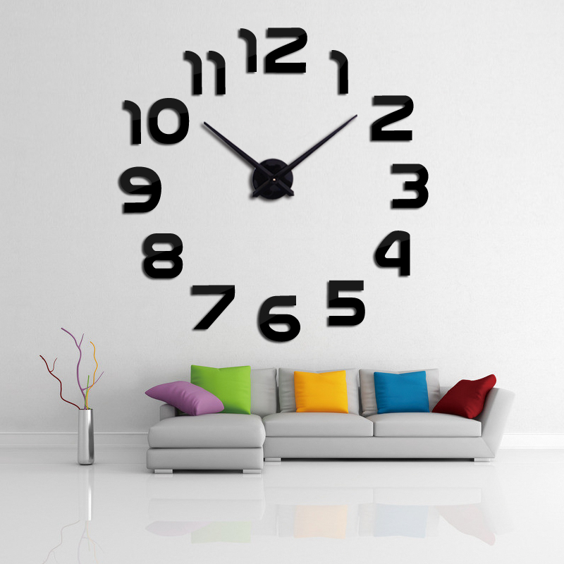 2018 new sale 3d diy clock clocks reloj de pared horloge watch Living Room Quartz Acrylic Mirror Wall Stickers