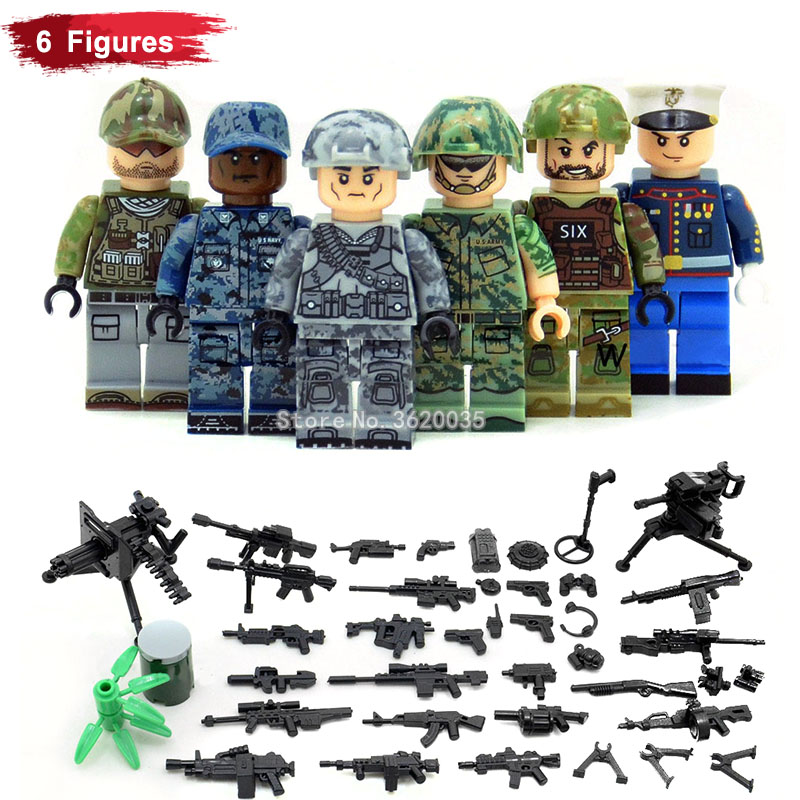 Comprehensive team United States Marines jungle Field battle Snow Camouflage compatible legoinglys Military Blocks figures gift