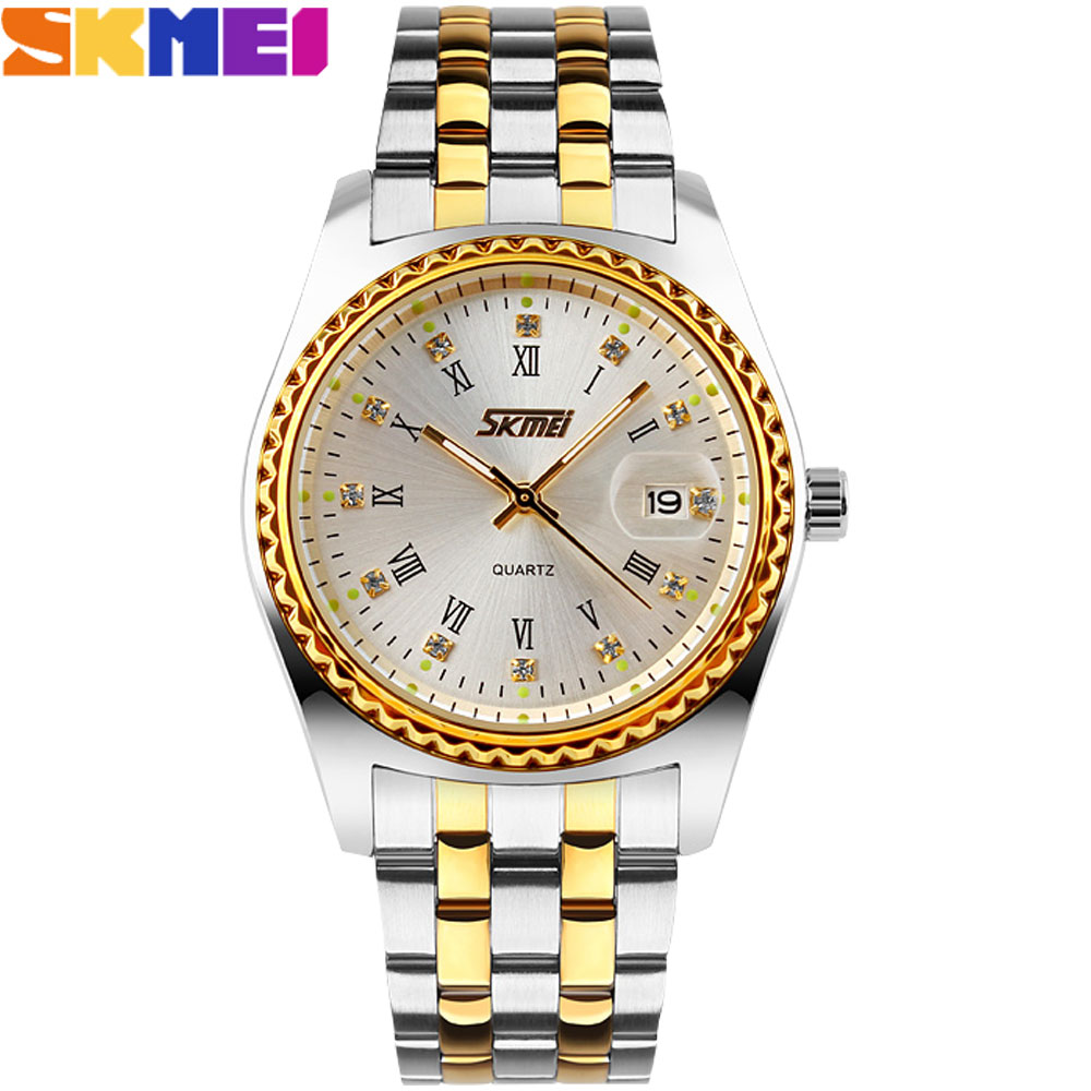 SKMEI New Popular Brand Men Woman Lover's Fashion Watches Analog Quartz Watch 30M Waterproof Auto Date Stainless Steel Band
