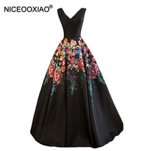 NICEOOXIAO Negro Retro Impresión de la Flor Del Vestido de Noche de La Novia Del Banquete V-cuello Piso-longitud Del Partido de Largo Prom Vestidos