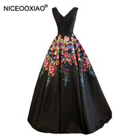 STOCK V Neck Stain Lady Evening Dress Floor Length Formal Prom Party Dress With Appliques Lace