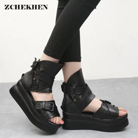 Buckle Punk Gothic Thick Platform Sandals Women Rome Increase High Gladiator Flat Sandals Lady Shoes Zip