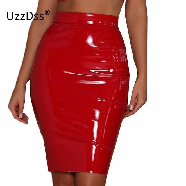 dbb3a345c UZZDSS 2018 Latest Bring PU Leather Skirt 80's 90s Classic Vintage Retro Midi  Skirts Women's High Waist Elastic Pencil Skirt