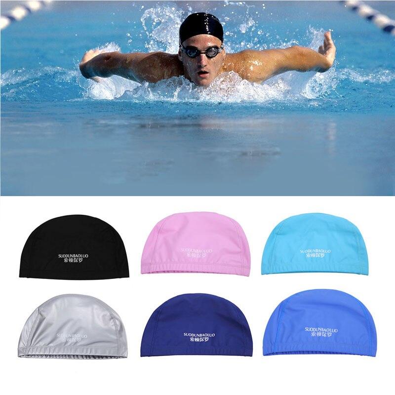 KLV 2017 New Unisex MenWaterproof Sports Pool Swimming Caps Bathing Elastic Ear Hair Head Hat Professional Swimming Fitness Tool