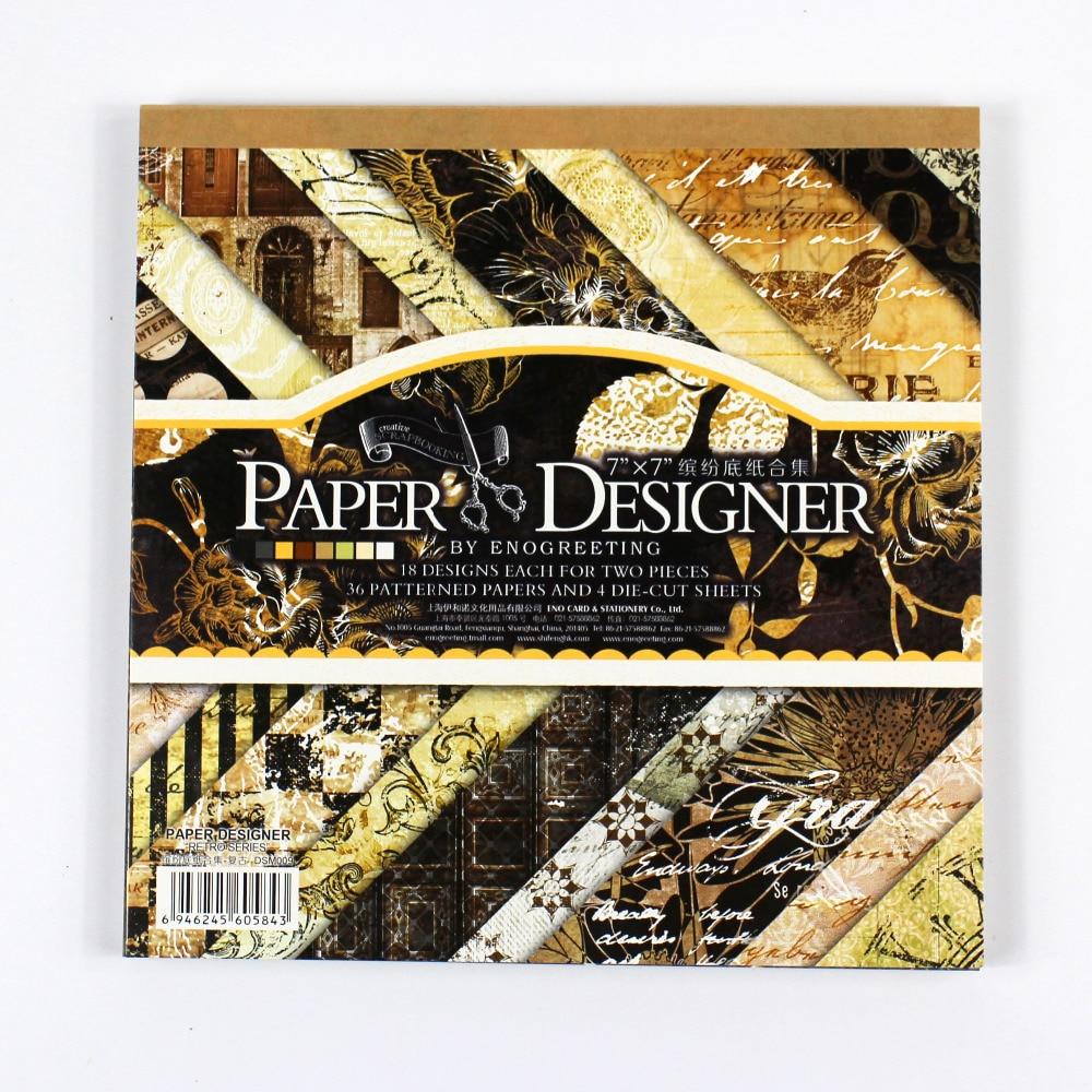 Scrapbook paper cheap - Enogreeting 7 Classic Black Theme Vintage Scrapbooking Paper Set 40sheets 22patterns Background Paper Pad