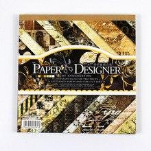 "NEU! 7""classic schwarz thema vintage scrapbooking papier set 40 blatt 22 muster hintergrund papier pad"