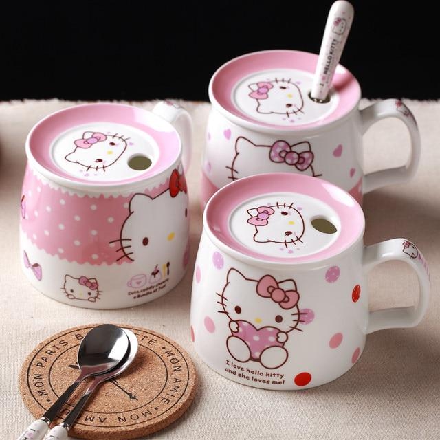 Hello kitty taza de leche tazas de caf con tapa cuchara for Tazas de te con tapa