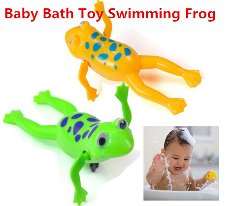 2018 New Baby Kids Bath Toy Clockwork Wind Up Plastic Swimming Frog Battery Operated Pool Bath for Kids Baby