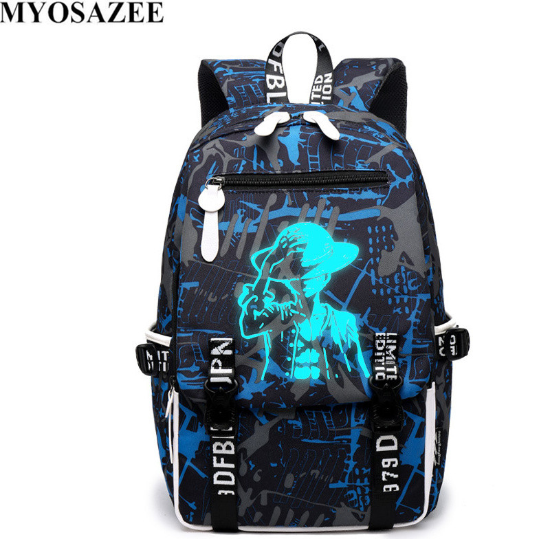 MYOSAZEE Brand Design Baru One Piece Backpacks Luminous 4 Colors School Bags Canvas Printing For Teenagers Backpack Male Bag