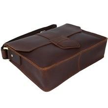 2017 Handmade Men's Messenger Bag Genuine Leather Satchel A4 Document Book Bag Brown Shoulder Bag For Men unique design  1083