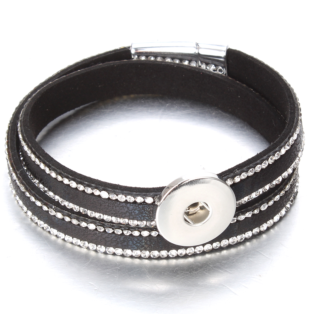 Image 2 - 10pcs/lot Snap Button Jewelry DIY 18mm Snap Buttons Bracelet Crystal Leather Magnet Bracelet Length 40CM Buttons JewelryCharm Bracelets   -