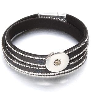 Image 2 - 10pcs/lot Snap Button Jewelry DIY 18mm Snap Buttons Bracelet Crystal Leather Magnet Bracelet Length 40CM Buttons Jewelry