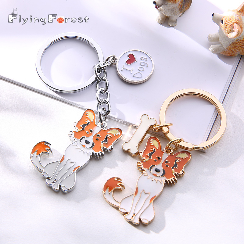 New Papillon Pet Key Chain Popular Metal Keychains DIY Pendants Gift Can Wholesale Car Key Ring Keychains Woman Chains For Men