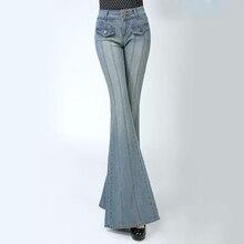 Venta caliente 2019 mujeres Vintage pantalones de mezclilla Casual de cintura alta Flare pierna ancha pantalones largos pantalones Palazzo Jeans femme C467