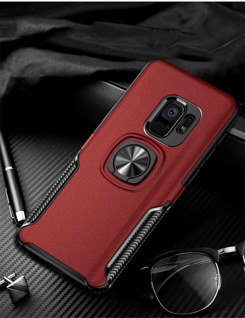 Leather Texture Stand Case For Samsung Galaxy S9 S8 S10 Plus Note 10 9 8 Ring Holder Magnetic Armor Cover For J4 J6 J8 A8 2018