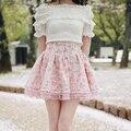 Super fofo meninas pegasus rosa camadas duplas pontos guarnição do laço Lolita Saia das Mulheres Estilo Japonês de Mini Saia Curta Rosa & branco