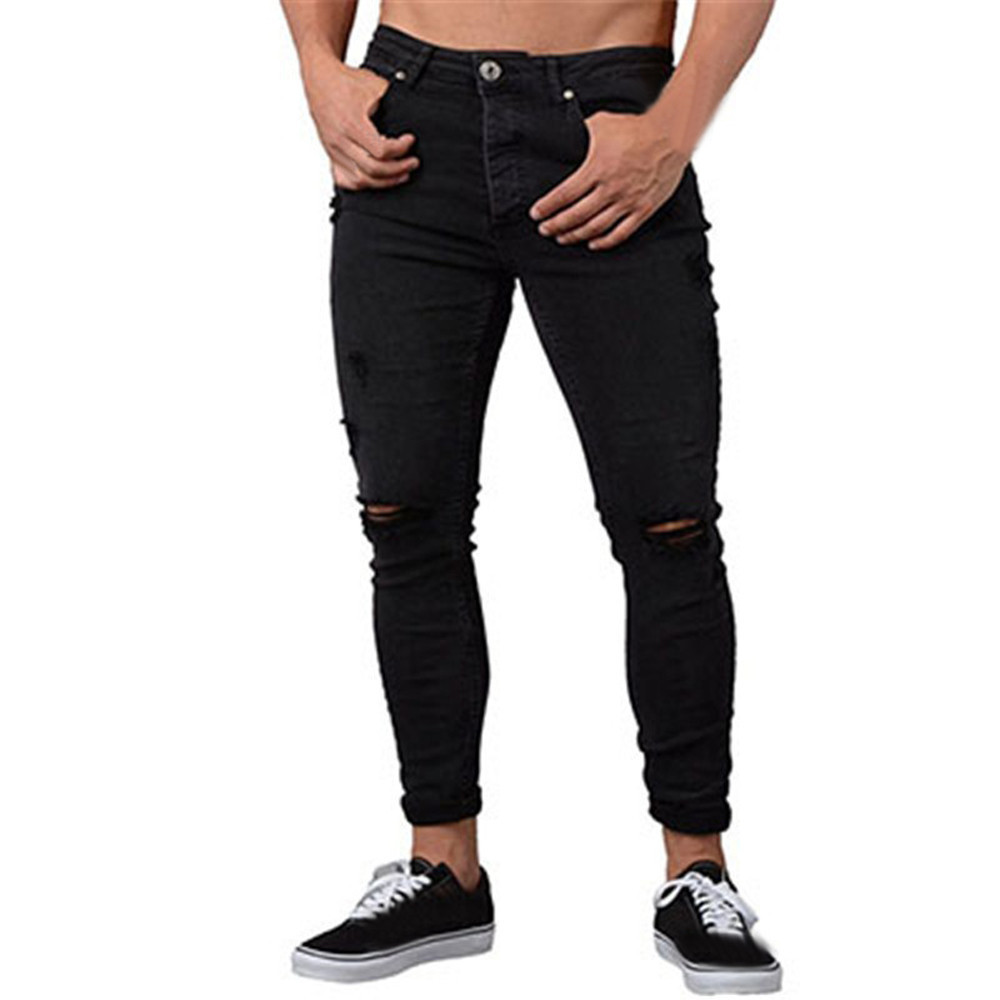 New Fashion Casual Jeans Mens Skinny Stretch Denim Pants Distressed Ripped Freyed Slim Fit Jeans Trousers For Male  Streetwear