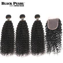 Black Pearl Pre-Colored Human Hair 3 Bundlar With Closure Non Remy Brasilianska Kinky Curly Hair Weave Bundles With Lace Closure