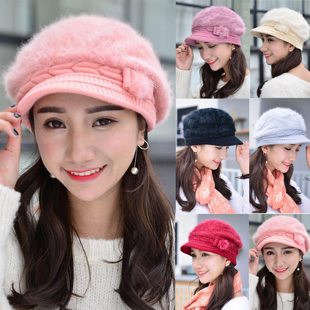 Women Fashion Winter Warm Wool Knitted Crochet Hat Ski Gatsby Fur Cap CS157 HATCS0157