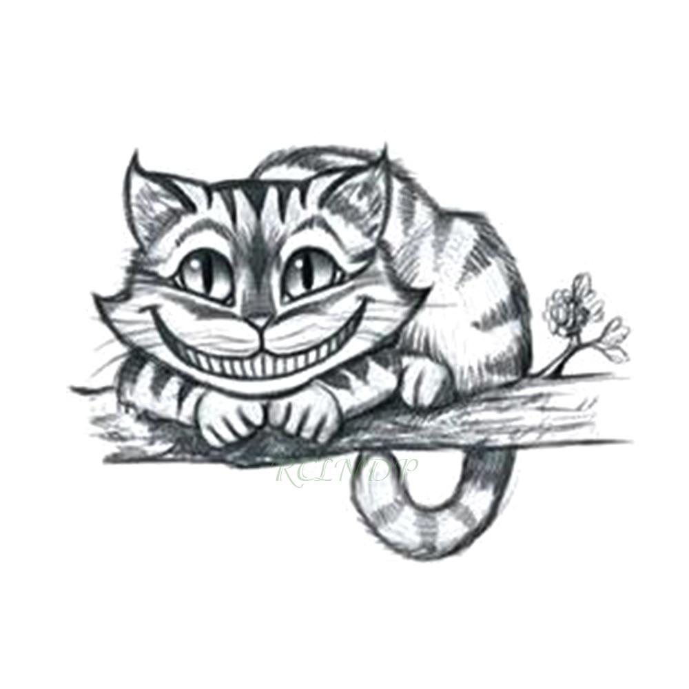 Us 0 98 Waterproof Temporary Tattoo Sticker Alice In Wonderland Cheshire Cat Laughing Cute Fake Tatto Flash Tatoo For Girls Women Men In Temporary