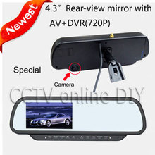 Free shipping Newest 4.3″ inch Car Rear View Mirror Monitor with Driving Video Recorder with 4GB card, Car DVR Monitor