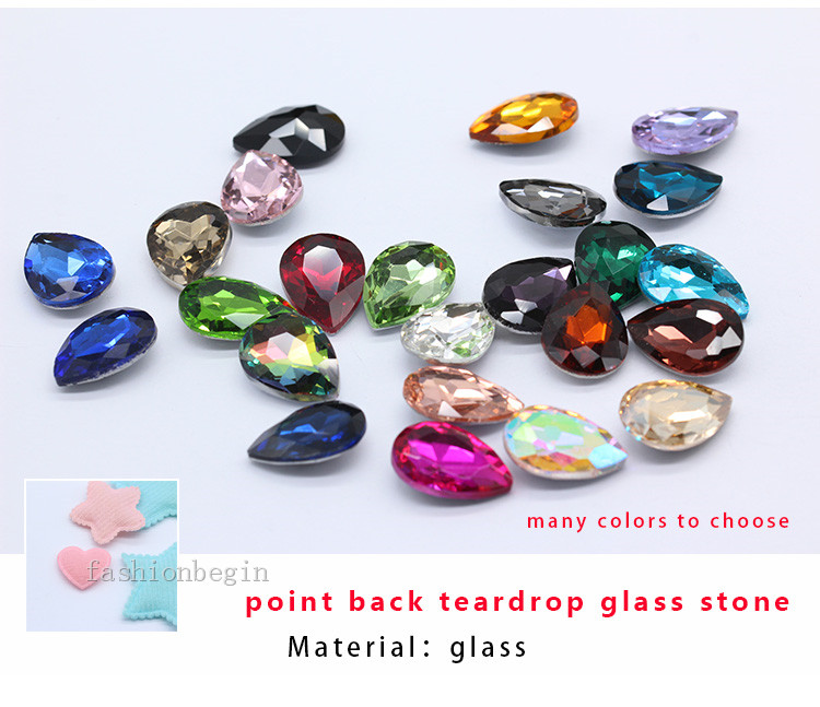 Aliexpress.com   Buy 9p 18x25mm color Teardrop point back glass ... 4e9c16419cf6