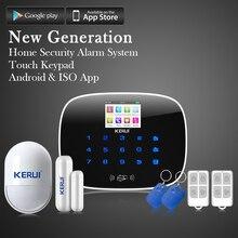 KERUI Сенсорный Экран Беспроводная GSM SMS Охранной Сигнализации Охранная Сигнализация Android iOS APP Управления Безопасности Системы Сигнализации