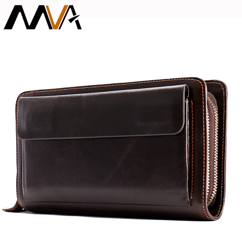 MVA Male Clutch Genuine Leather Wallets Men Double Zipper Clutch Bags Passport Phone Wallets with Coin Pocket Card Holder Wallet williampolo genuine leather men wallet handbag coin pocket phone wallets card holder leather long clutch zipper black brown 80