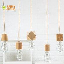 Drewniany naszyjnik światła E27 drewno lampa wisząca do domu/wystrój salonu naturalny kolor vintage wiszące światła E27 oprawa oświetleniowa