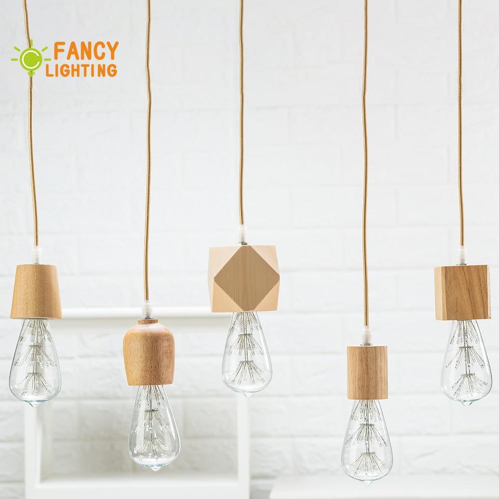 Wooden Pendant Lights E27 Wood Pendant Lamp For Home/living Room Decor Natural Color Vintage Hanging Lights Modern Light Fixture