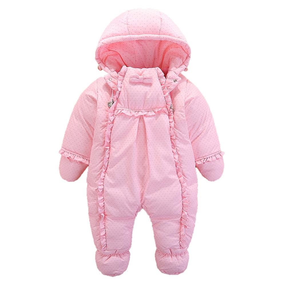2017 Winter Baby Down Jacket Infant Girls Warm One-piece 100% Duck Down Thickened Coat 1-2yrs Kids Outerwears for Cold -20C 2017 fashion girl winter down jackets children coats warm baby thick duck down kids outerwears for cold 30 degree jacket