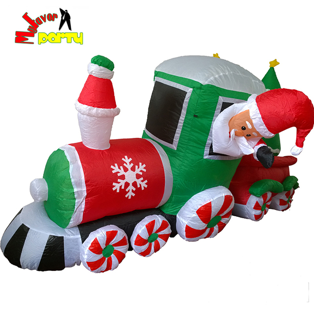 highest quality 8 ft 24m christmas led lighted inflatable train blow up airblow