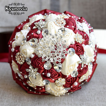 Kyunovia Burgundy Brooch Bouquet Ivory Bride Bouquets de mariage Artificial Crystal Wedding Flowers buque noiva 4 Colors FE86 - discount item  26% OFF Wedding Accessories