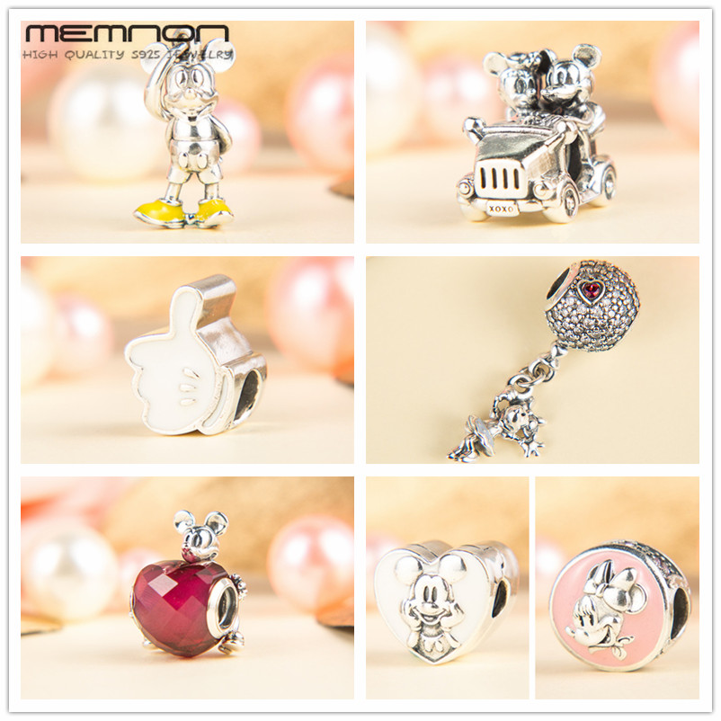 Memnon 2018 cartoon collection Vintage Car charms with heart 925 sterling silver animals beads fit bracelets necklace DIY DS103 memnon
