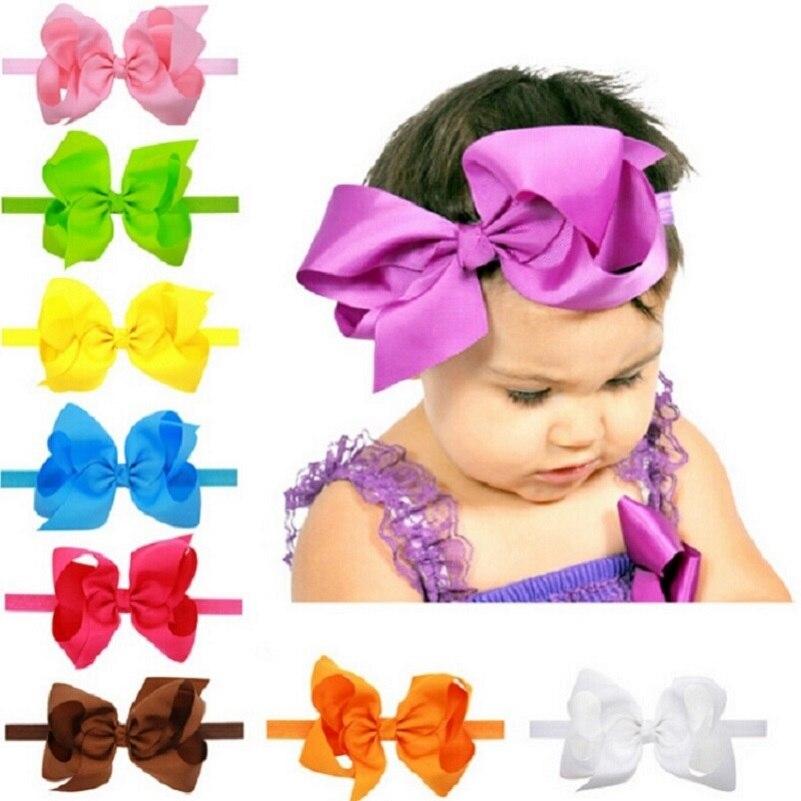 Naturalwell Baby Girls Big Bow Turbante Headbands Hair Accessories Kids Ribbon Bow Headband Elastic Hair Bands Big Bows HB145