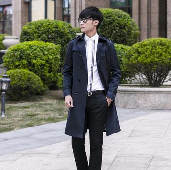 Korean 2020 spring autumn new designer mens trench coats man long coat men clothes slim fit overcoat long sleeve dark blue 9XL