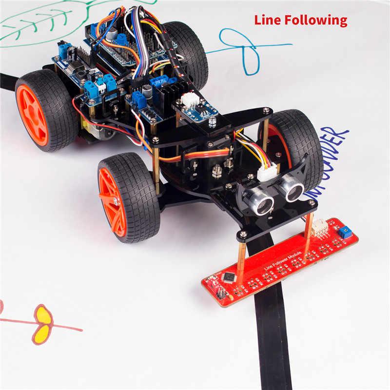 SunFounder Дистанционное Управление робот умный автомобильный комплект V2.0 для Arduino Uno R3 ультразвуковой линейный датчик слежения с ИК-приемником