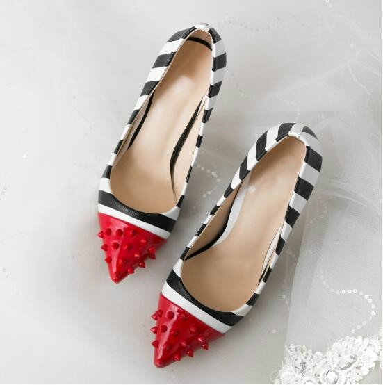 New Pumps Woman Red Pointed Toe Studded Spikes Black And White Strap Mixed Color Fashion Shoes Slip On Zapatos Mujer Stilettos