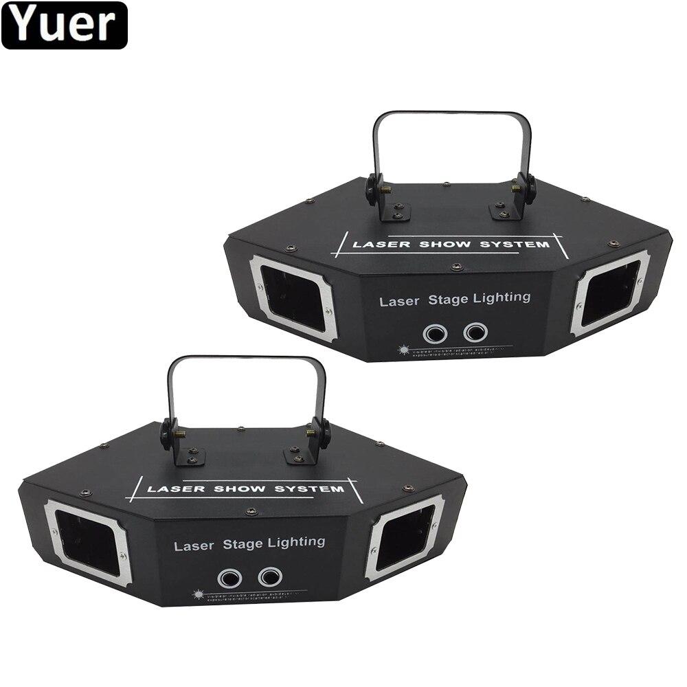 2Pcs/Lot Sound Party Lights RGB Four Eyes Sector Laser Light Disco DJ Effect Projector Scanner Laser Stage Effect Lighting