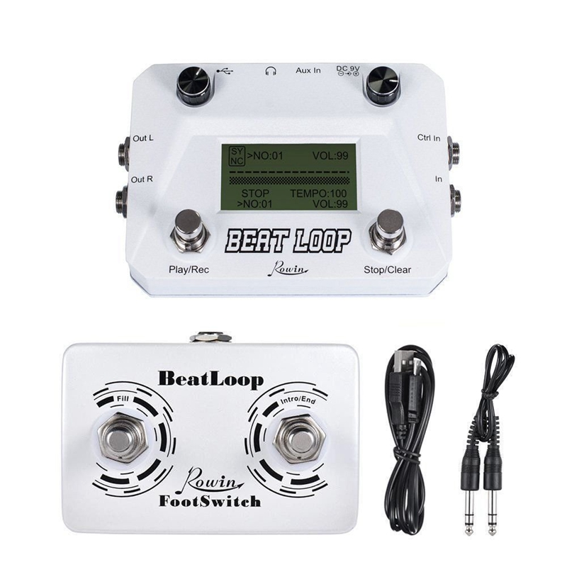 Rowin Lbl - 01 Guitar Beat Loop Drum Machine With Foot Switch 3 Different Modes Usb Type Beat Looper With Lcd Backlight